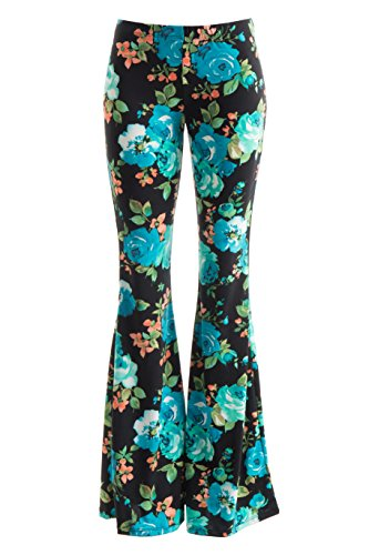 Fashionomics Womens BOHO COMFY STRETCHY BELL BOTTOM FLARE PANTS (S, TUQBK) (70s Hippie Outfits)