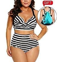 Camlinbo 2018 Women's Plus Size Swimsuit High Waisted Ruffles Push up Halter Bikini Set