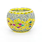 AWEVILIA Handmade Mosaic Gold Wave Glass Bowl Candle Holders Votive Tealight Candleholders Home Decor Christmas Party