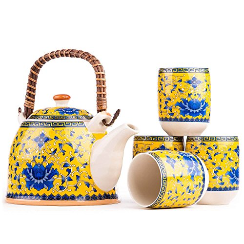 Golden Yellow Japanese Tea Set with Detailed Large Blue Peony Flower - perfect for enjoying green tea, your Asian decor collections, gift for someone special