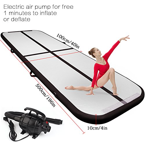 FBSPORT 16.4ft air track tumbling mat inflatable gymnastics airtrack with Electric Air Pump for Practice Gymnastics,Cheerleading, Tumbling, Free Running (Parkour), and Martial Arts