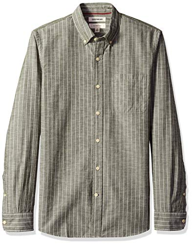 Goodthreads Men's Slim-Fit Long-Sleeve Pinstripe Chambray Shirt, -olive stripe, Large ()