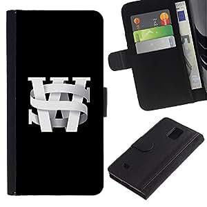KingStore / Leather Etui en cuir / Samsung Galaxy Note 4 IV / Lettrines noir Université Texte noir