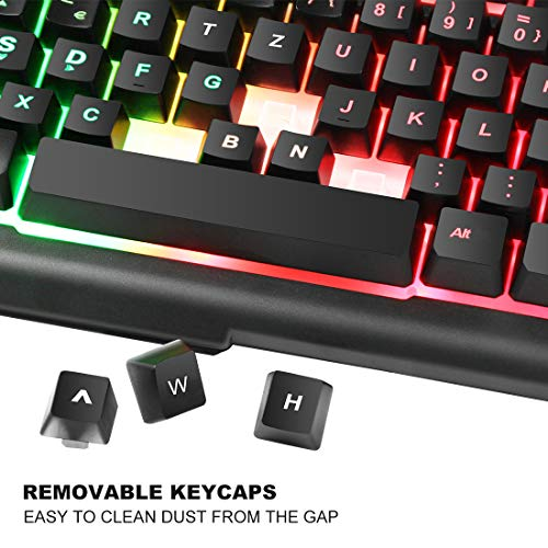 BAKTH Rainbow LED Backlit Mechanical Feeling Gaming Keyboard and Mouse Combo, USB Wired Keyboard and Mouse with 4000 DPI for Game or Office