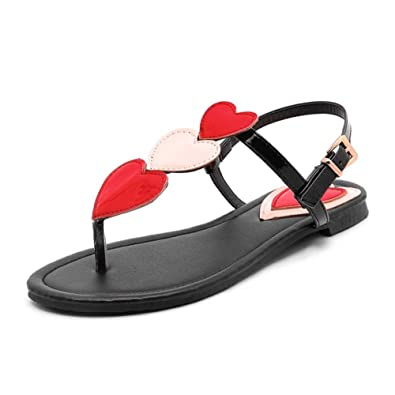 c8d8a40be247 So simpok Women s Special Flip Flops T-Strap Buckle Flats Thong Sandal with  Three Heart