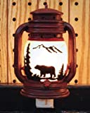 Electric Night Light Lantern with Bear Scene, 6-inch