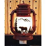Electric Night Light Lantern with Bear Scene, 6-inch