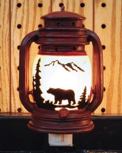 Woodland Wall Fixture - Electric Night Light Lantern with Bear Scene, 6-inch
