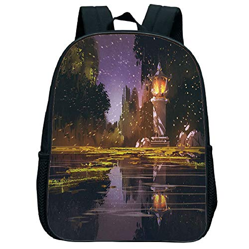 iPrint Comfortable Trumpet black knapsack,Landscape,Idyllic Scenery at Night with a Stone Lantern Fireflies and Forest Trees Swamp,Multicolor,for Children,Diversified Design.11.8
