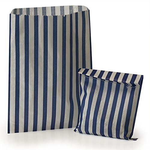 50 Dark Blue Candy Stripe Gift Sweet favour Wedding Counter Paper Bags 10″ x 14″