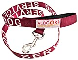 ALBCORP Padded Service Dog Leash - with Neoprene Handle - and Reflective Silk-Screen Print for use on Harnesses, Vests, Collars. 4 Foot, Maroon/Red-Wine Color.