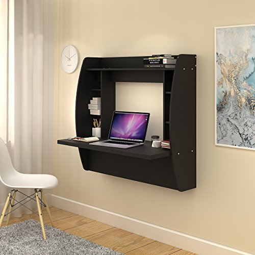 Wall Mounted Floating Desk with Storage by DEVAISE (Black)