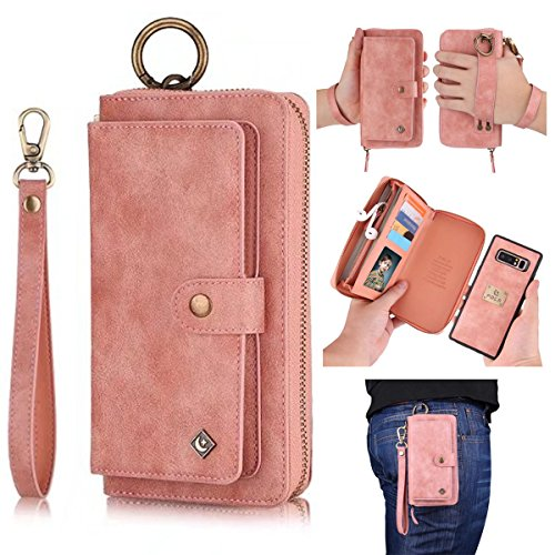 Galaxy Note 8 Leather Flip Case Cover,Galaxy note 8 wallet Case For Women and Men,AIFENG [14 Card Holder][Zipper][Magnetic Detachable]Wallet Folio Case Leather Pouch For Samsung Galaxy note 8,Pink - Note Cover