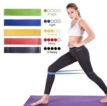 dd751e951 5-Set Resistance Loop Bands Natural Latex-Mejor hogar Gimnasio Fitness  Bandas para piernas glúteos con Bolsa de Transporte para Mujeres Hombres ...