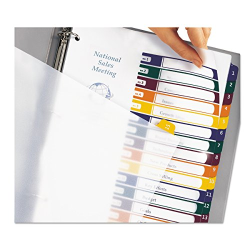 Avery Ready Index Translucent Table/Contents Dividers, 15 Tabs, Letter Size, Assorted, 15 per Set (11820)
