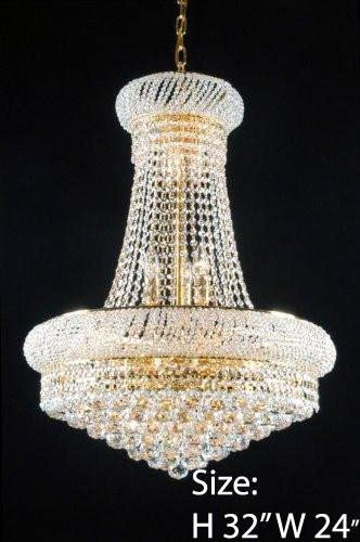 Made with Swarovski Crystal French Empire Crystal Chandeliers Lighting – Great for The Dining Room, Foyer, Living Room H32 X W24