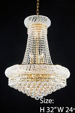 Made With Swarovski Crystal French Empire Crystal Chandeliers Lighting Great For The Dining Room Foyer Living Room H32 X W24 Home Decor Products Amazon Com