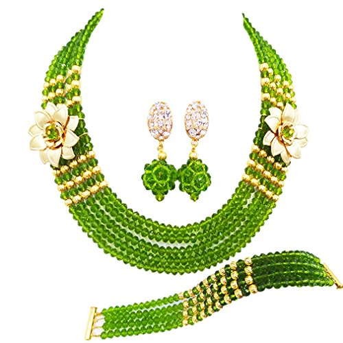 laanc 5 Rows Multicolors African Beads Jewelry Set,nigerian Wedding Beads Jewellery Sets A-022A (Olive (Green Glass Pearl Necklace)