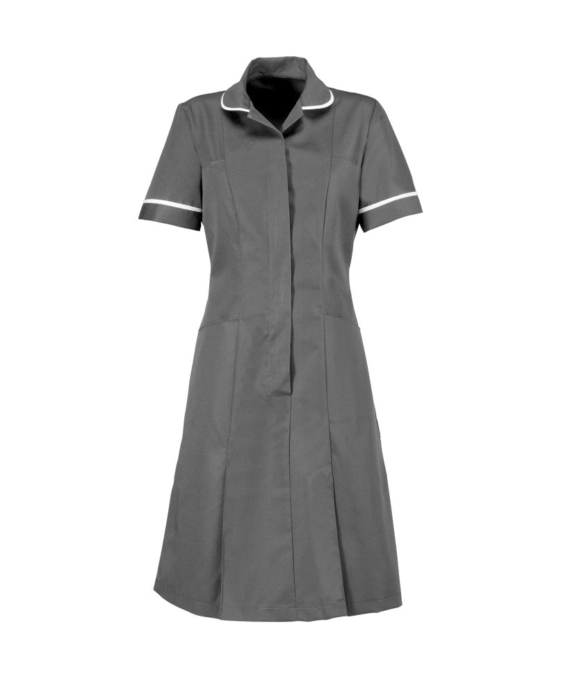 Alexandra AL-HP297GR-96S Series AL-HP297 Zip Front Dress, Plain, White Piping/Trim, 96 cm Chest, Size 14, Short, Convoy Grey