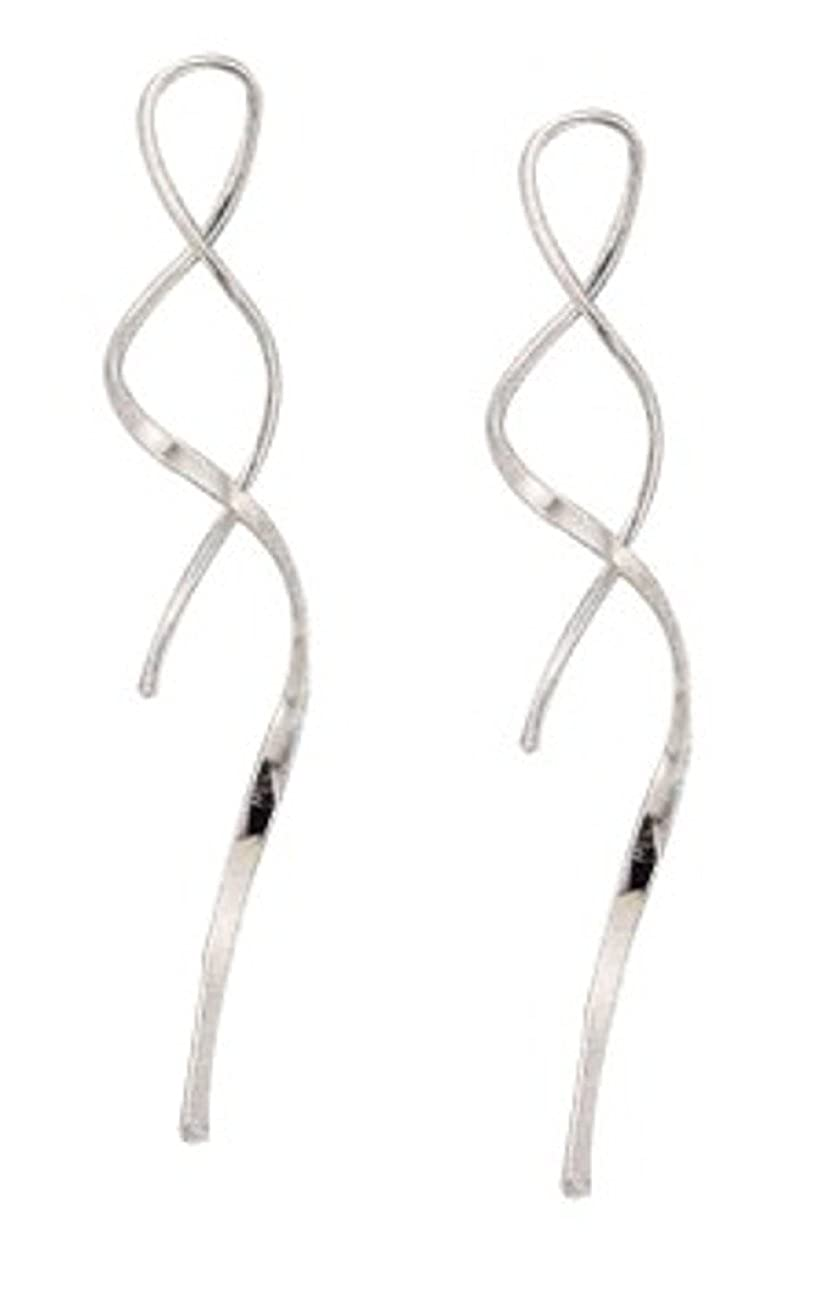 Sterling Silver Squiggly Curled Wire Streamer Threader Drop Dangle Earrings