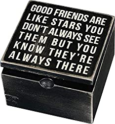 """A black and white wooden hinged box featuring a distressed """"Good Friends Are Like Stars - You Don't Always See Them But You Know They're Always There"""" sentiment on top. CAREFULLY BUY ONLY FROM AMAZON or trusted Amazon partners to guarantee authentic ..."""