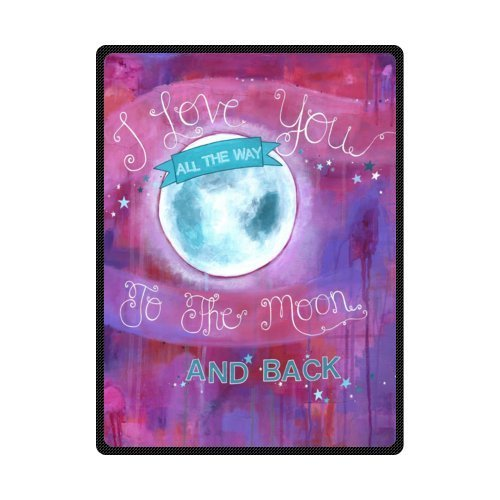 I Love You To the Moon And Back Comfortable Custom Unique Fleece Throw Blanket 58x80inch (Large)