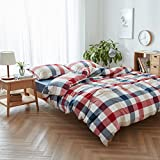 Sheet set queen of cotton for twin queen bed bedding sheets set king size (Twin, Red and blue plaid)
