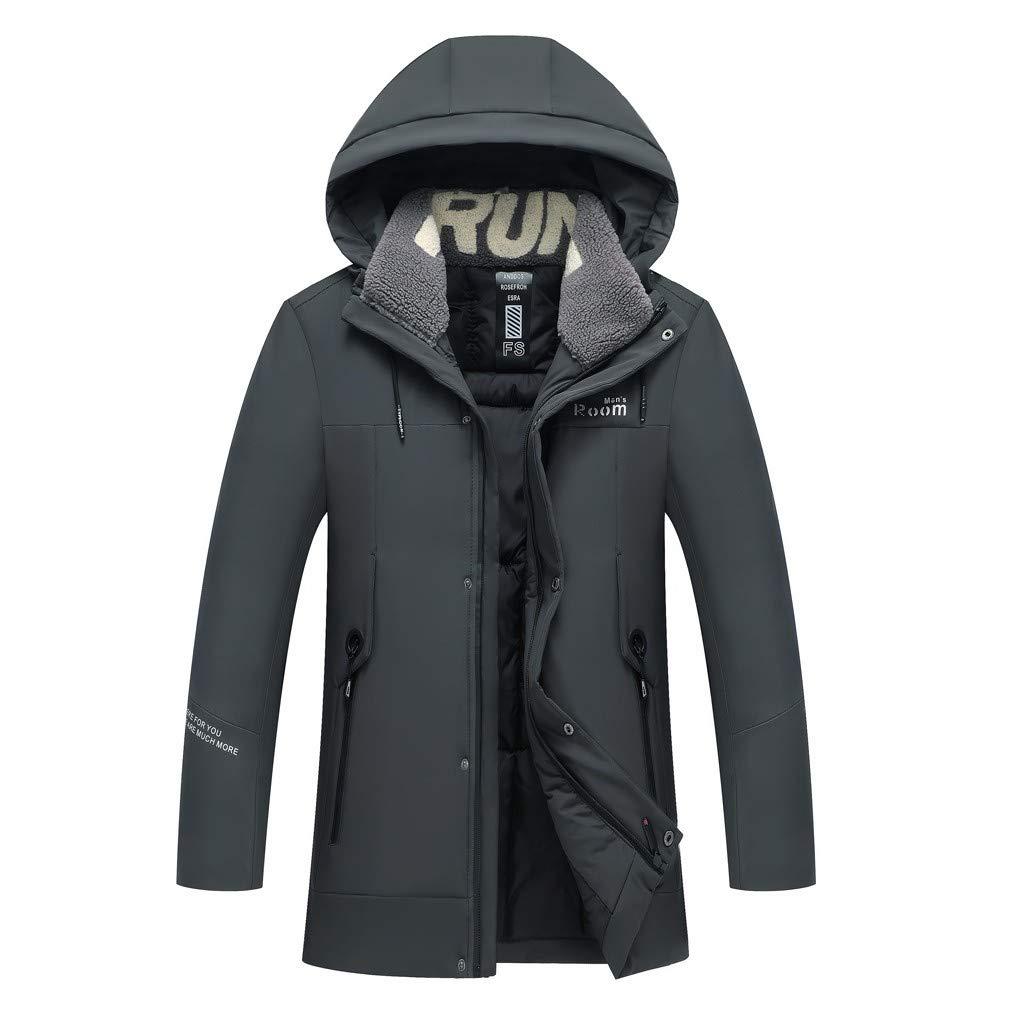 Allywit Down Jacket Men Waterproof Casual Warm Hooded Winter Zipper Coat Outwear Cotton-padded jacket by Allywit-Mens