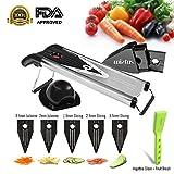 Premium V Blade Stainless Steel Mandoline Slicer - Asscom Vegetable Slicer -Manual Food Slicers - Fruit Slicer- Potato Slicer-Vegetable Julienne Slicer-5 Blade Slicer