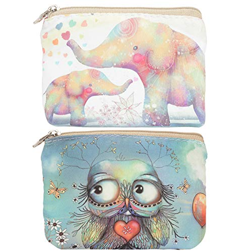 Women and Girls Cute Fashion Coin Purse Wallet Bag Change Pouch Key Holder (Balloon Owl & Mother Love Elephant)
