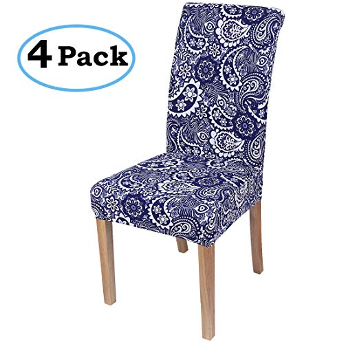 - misaya Stretch Dining Room Chair Cover Spandex Removable Washable Paisley Printing Chair Slipcover for Kitchen, Set of 4, Style 5