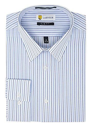 Pattern Mens Dress Shirt (Labiyeur Slim Fit Button Cuff Semi Spread Collar Men's Dress Shirt 15.5 | 34-35 Blue Stripes on White)