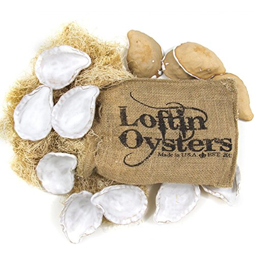 (Loftin Ceramic Oyster Shells - Set Of 12 and Grilling Tong)