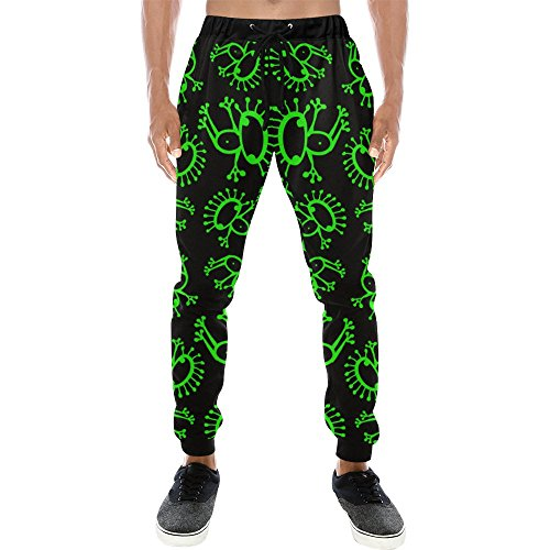 Print Casual Baggy Slacks Pants For Men For Running Gym Neon Green Alien Frog
