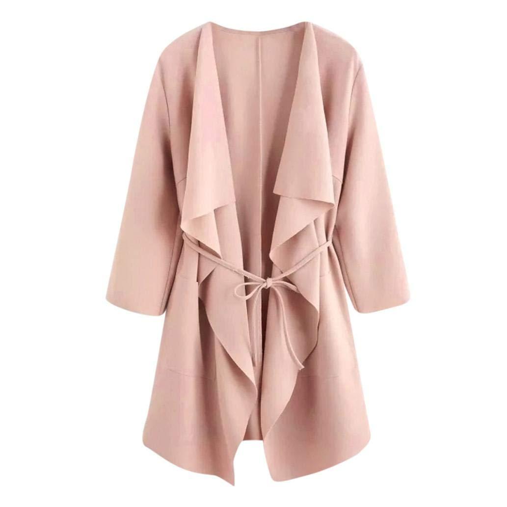 Women Casual Coat, RNTOP Fashion Long Sleeve Wrap Trench Coat Cut Hem Waterfall Collar Cardigan Jacket (XXL, Pink)