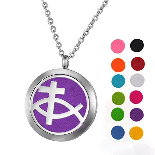 Price comparison product image Stainless Steel Aromatherapy Essential Oil Diffuser Necklace with Cross + Fish Sign for Women,Silver Tone