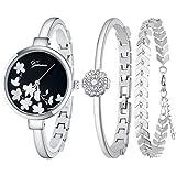 JUMJEE Dress Bracelet Watches for Women Casual Quartz Bangle Wrist Watch Set (Silver)