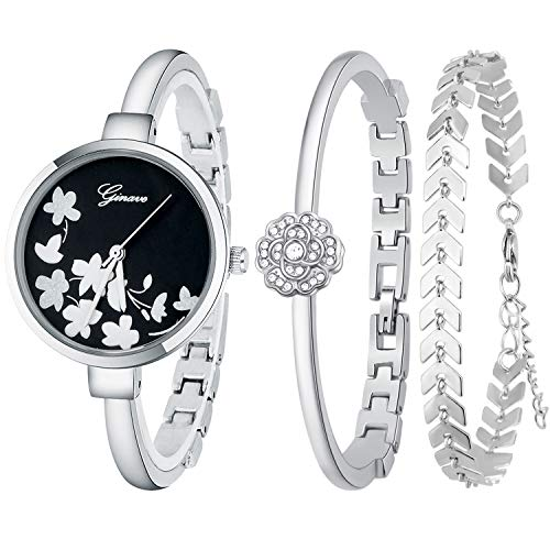 JUMJEE Dress Bracelet Watches for Women Casual Quartz Bangle Wrist Watch Set (Silver) (Bracelet Bangle Watch Quartz)