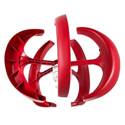 Happybuy Wind Turbine 300W 12V Wind Turbine Generator Red Lantern Vertical Wind Generator 5 Leaves Wind Turbine Kit with Controller No Pole (300W 12V, Red) by Happybuy (Image #2)