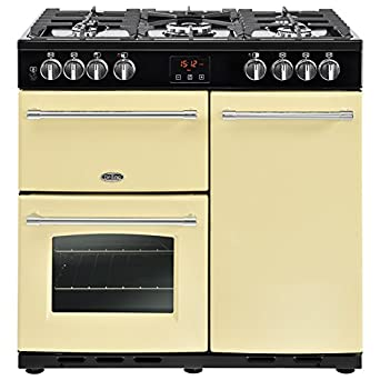 Belling Farmhouse 90 DFT Range cooker Gas Stove Cream - Ovens and Cookers  (Cooker, Cream, Rotating, Touch, Front, Enamel, Gas Cooker)