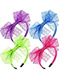 Blulu 80's Lace Headband Costume Accessories for 80s Theme Party, No Headache Neon Lace Bow Headband, Set of 4 (4 color A)