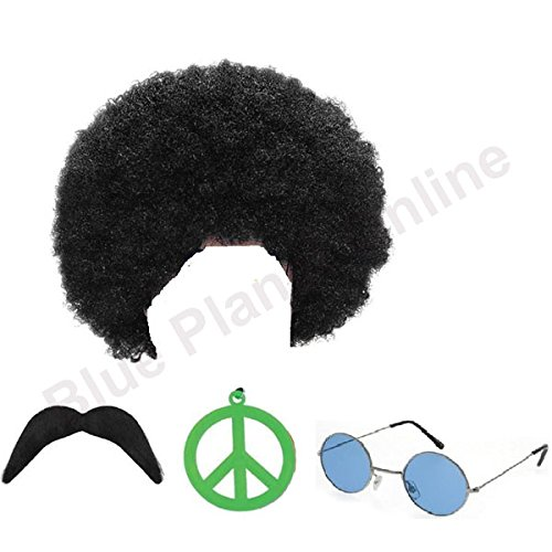70s Afro Hippu Man Wig and Accessories Set