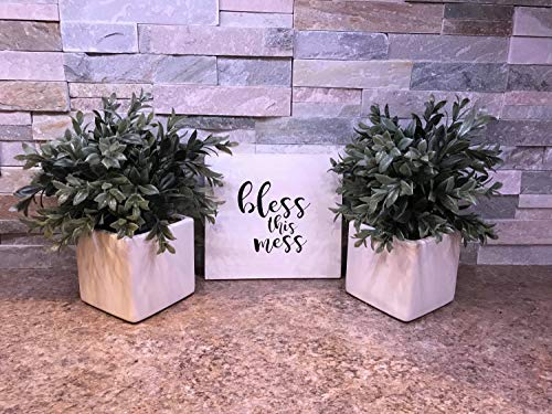 weewen Bless This Mess Rustic Wall Decor Farmhouse Decor Housewarming Gift Shelf Sitter Gallery Wall Sign Blessed Rustic Home Decor Wood Signs for Home Decor Quote Garden Plaque Sign from weewen