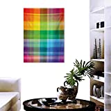"""Vintage Rainbow Wall Art Canvas Prints Retro Plaid Design Checkered Squares Rainbow Colored Geometric Pattern Modern Wall Art for Living Room Decoration 16""""x24"""" Multicolor"""