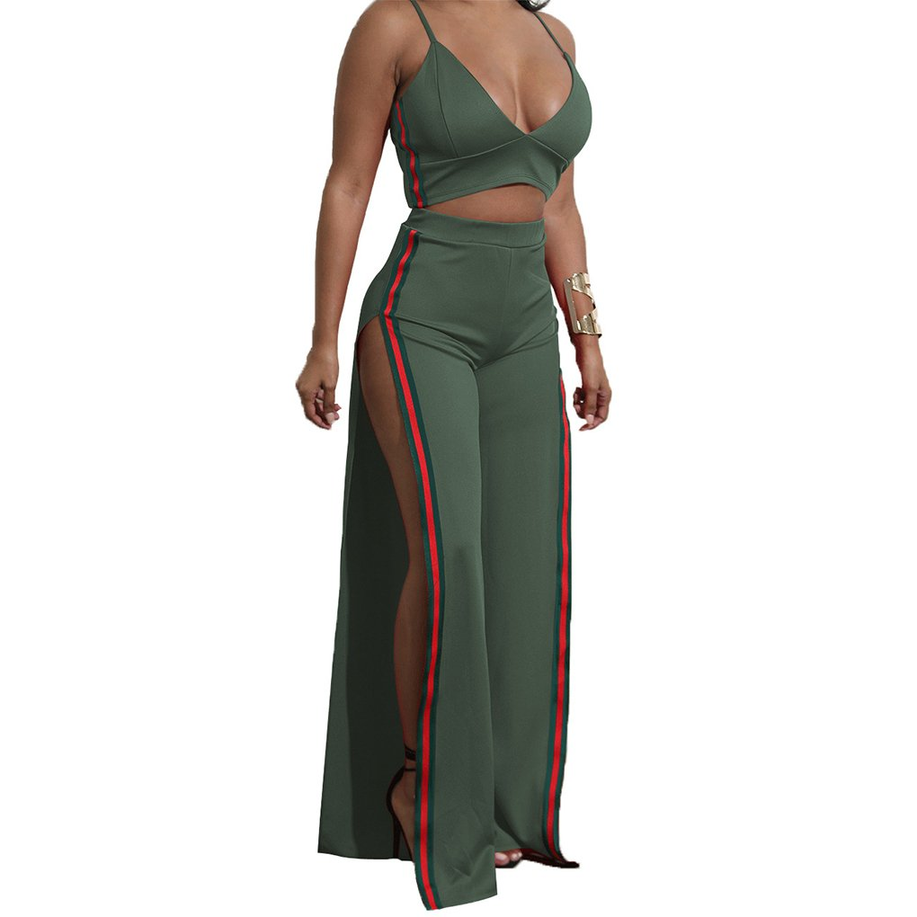 Gefemini Women's 2pc Set Outfit Crop Top and Track Pants Set Tank Top and Side Split Trousers Jumpsuit Romper, Green, Large