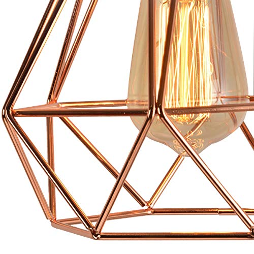 NANGE Modern Chandelier,Personality Plating Rose Gold Pendant Lights,Kitchen Island Table Dining Room Bedroom Entryway Hanging Lamp,E27(Without Light Source) (Color : AC 110V, Size : Gold) by NANGE (Image #4)