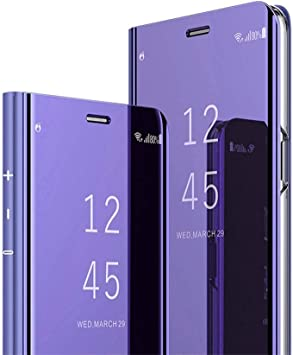 COTDINFOR Samsung Galaxy J4 Plus Funda Espejo Ultra Slim Ligero Flip Funda Clear View Standing Cover Mirror PC Cover Protectora Bumper Case para Samsung Galaxy J4 Plus 2018 Purple Mirror PU MX.: