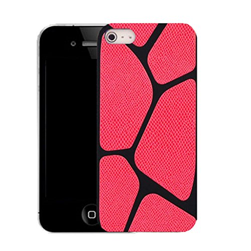 Mobile Case Mate IPhone 4 clip on Silicone Coque couverture case cover Pare-chocs + STYLET - red blocked pattern (SILICON)