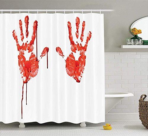 JIMMY MONTGOMERY Bloody Shower Curtain Set, Handprint Like Wanting Help Halloween Horror Scary Spooky Flowing Blood Themed Print, Fabric Bathroom Decor with Hooks, 84 Inches Extra Long, Red White