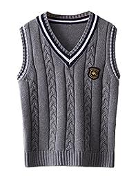 La Vogue Boy Vest V-Neck Knit Pullover School Uniform Sweater Cotton Waistcoat